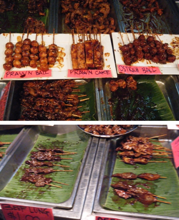 Fish ball kabobs, ostrich balls, prawn balls, all parts of cow kabobs!!